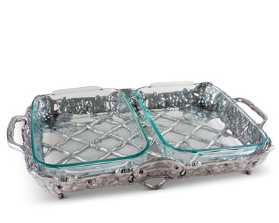 Arthur Court Metal Pyrex Glass Casserole Dish Holder Classic Grape Pattern Sand Casted in Aluminum with Artisan Quality Hand Polished Design Tanish-Free 15 inch long, 2 quart capacity