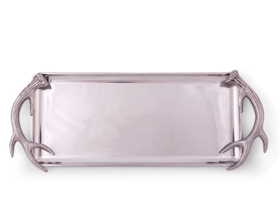 "Arthur Court Designs Aluminum 19"" x 8""Antler Oblong Tray"