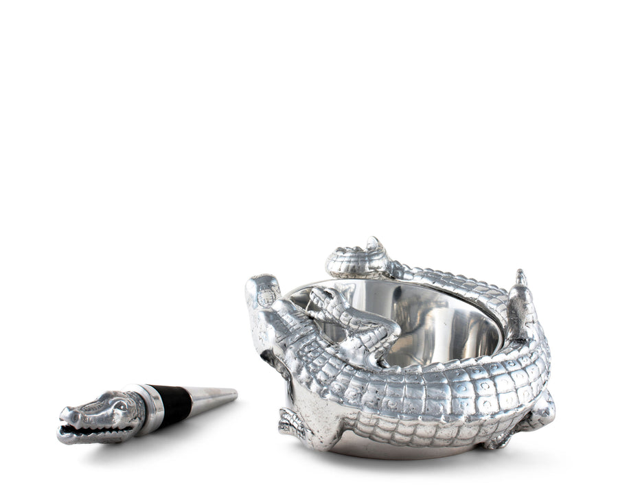 "Arthur Court Designs Aluminum Alligator Wine Coaster / Holder and Bottle Stopper Set  4"" diameter"