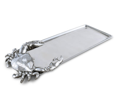 "Arthur Court Designs Aluminum 18"" x 7"" Crab Oblong Tray"