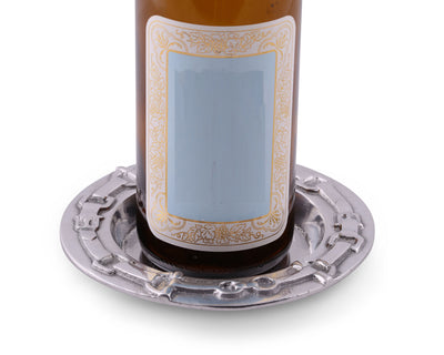 "Arthur Court Designs Aluminum Equestrian  Wine Coaster / Holder  Artisan Metal  6"" diameter"