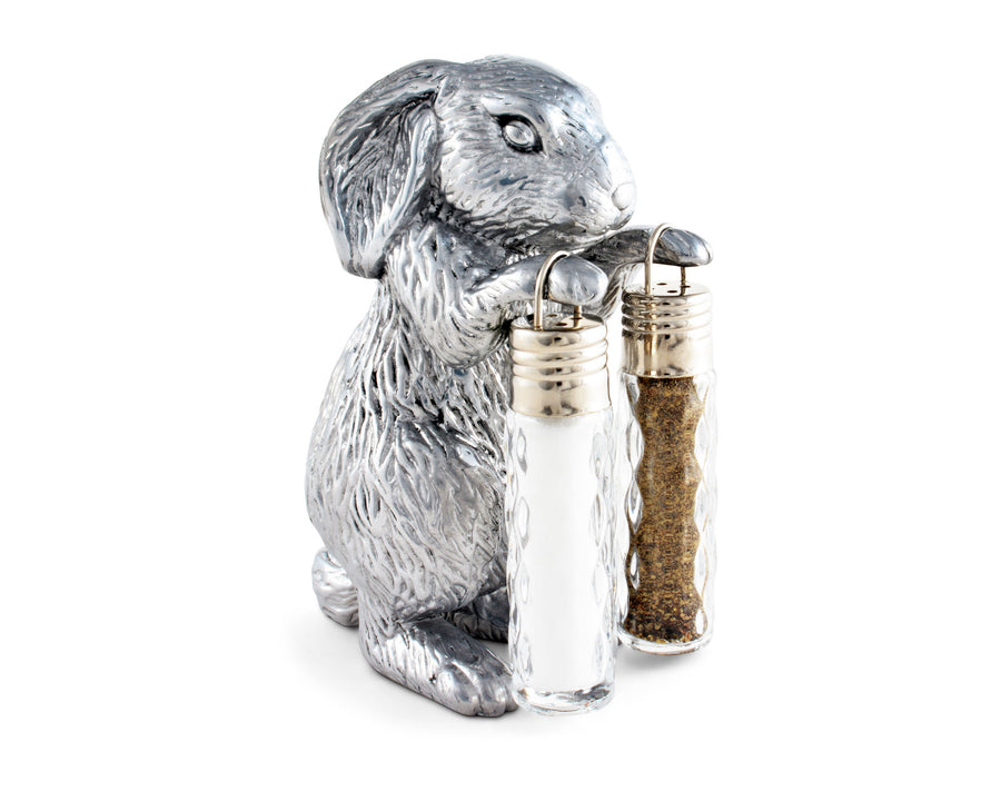 Arthur Court Designs Aluminum Bunny Stand for Glass Hanging Salt and Pepper