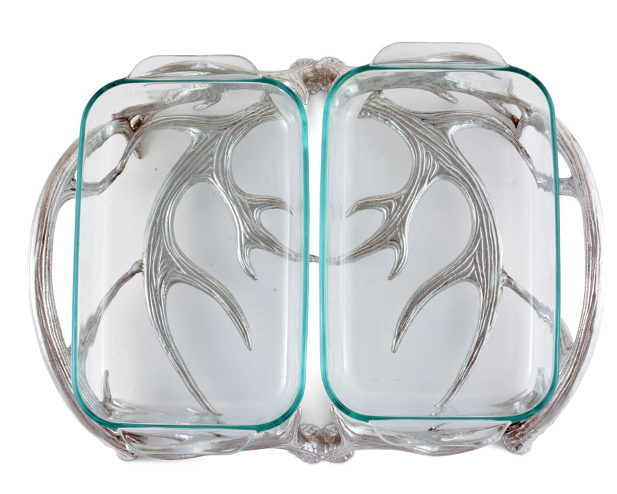 Arthur Court Metal Pyrex Glass Casserole Dish Holder Rustic Antler Pattern Sand Casted in Aluminum with Artisan Quality Hand Polished Design Tanish-Free 18 inch long, 2 quart capacity
