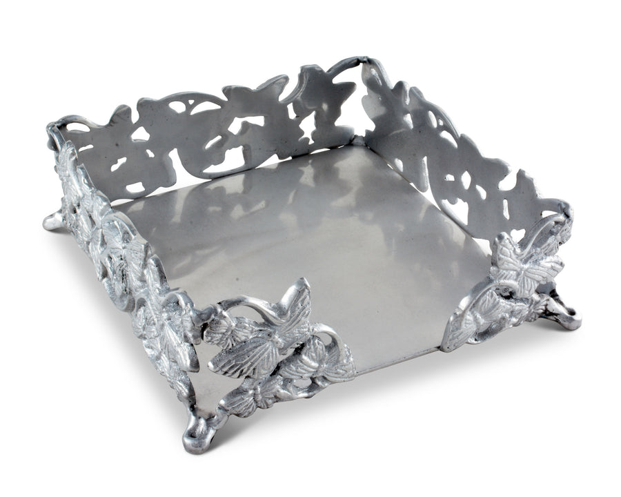 "Arthur Court Napkin Holder Box Butterfly Cast Aluminum Lunchon Size | Perfect for all sizes of Large Lunch Square Spring / Outdoor Napkins 7"" x 7"""