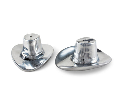 "Arthur Court Aluminum Western Cowboy Hat Salt and Pepper Set L: 4"" / W: 3.5"" / H: 1.75"""