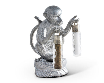 Arthur Court Designs Aluminum Monkey Stand for Glass Hanging Salt and Pepper
