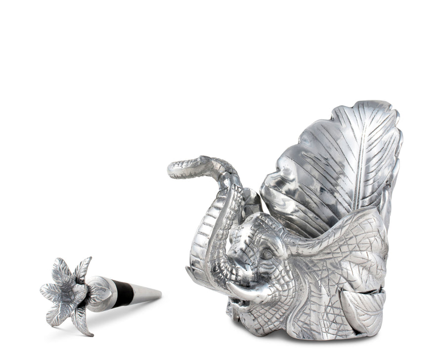 "Arthur Court Aluminum Metal Elephant Wine Coaster and Stopper Set Sandcasted Artisan Metal 4.5"" diameter"