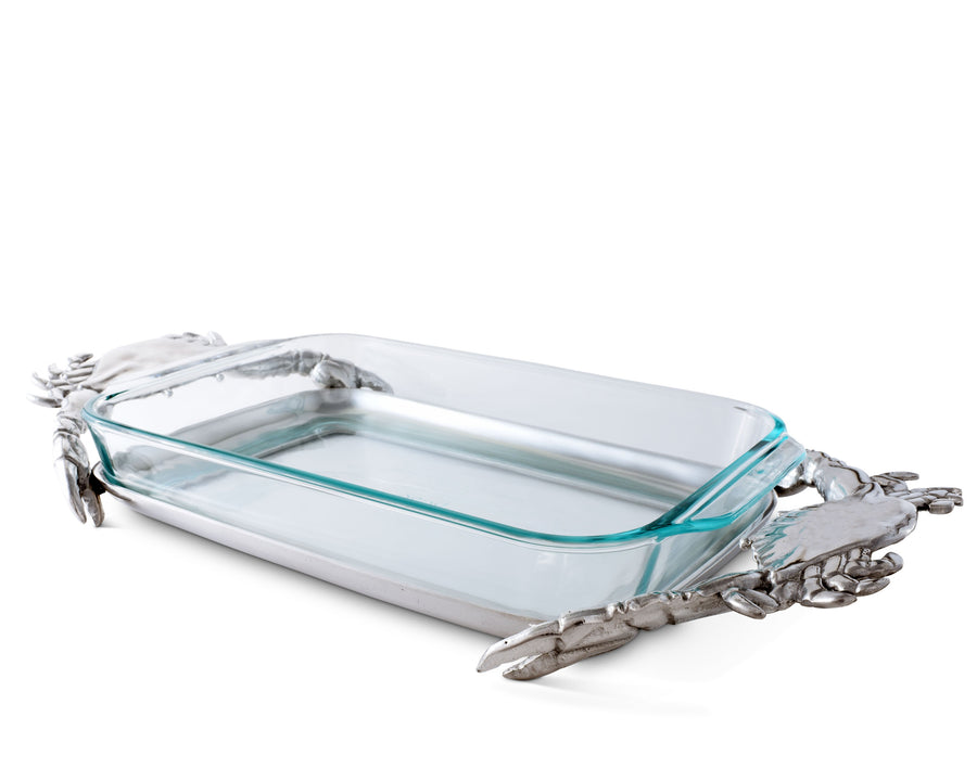 "Arthur Court Aluminum Metal Crab Pattern Holder Trivet Pyrex Casserole Baking Dish - Protects and Serving Hot Glass  21"" Long Fits and Includes 3 Quart Pyrex Dish"