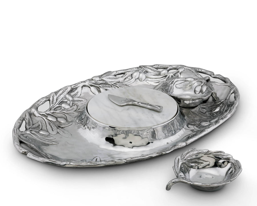 "Arthur Court Sand-Cast Aluminum Olive Pattern 5 piece Entertainment Tray 20"" Long"