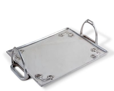 "Arthur Court Horse Stirrup Metal Serving Tray for Serving Food, Snacks, Desserts Stackable Platter to form Tier Cheese Stand - Silver Equestrian Style -  5"" T x 12"" W x 17.5 L"