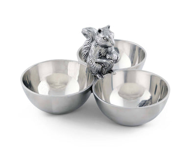 "Arthur Court Squirrel 3 Bowl Nut / Snacks / Candy  Ensemble  - Cast Aluminum Hand Polished 6"" x 9"" x 9"""