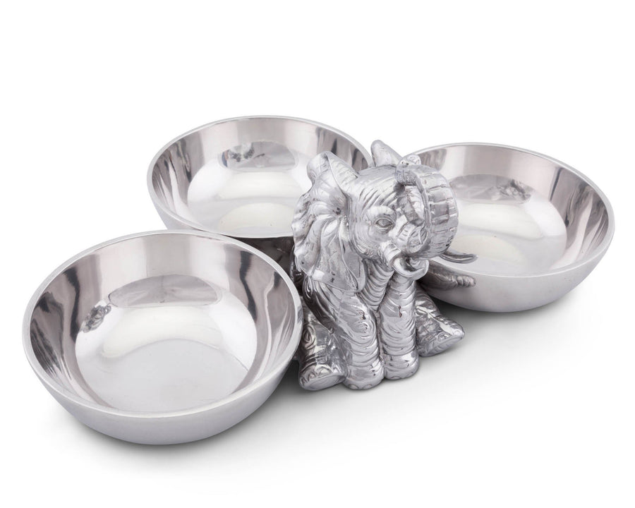 "Arthur Court Designs Aluminum Metal Sitting Elephant Three-Bowl Nut / Candy / Snack Bowl Dish 5"" Tall"