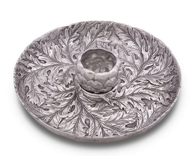 Arthur Court Designs Metal Chip and Dip Platter in Artichoke Pattern Sand Casted in Aluminum with Artisan Quality Hand Polished Designer Tanish-Free 14 inch diameter