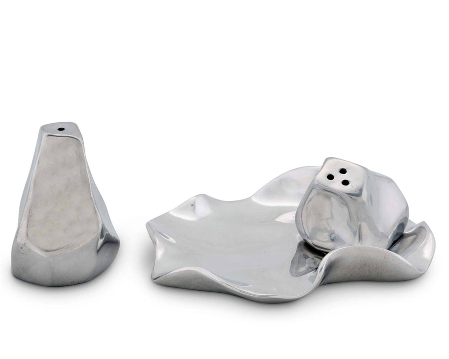 Arthur Court Salt and Pepper Aluminum Hand Polished Carmel Modern Pattern