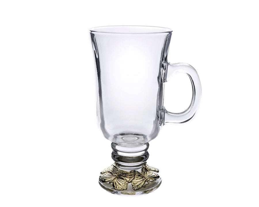 Arthur Court Designs Glass Beverage Mugs with Gold Plated Butterfly Ring