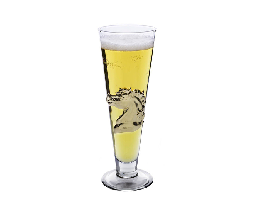 Arthur Court Designs 14oz Pilsner Glass with Gold Plated Horse Plaque