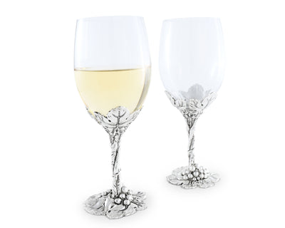 Arthur Court Designs Aluminum Grape Pattern Base Wine Glasses 8.5 Inches Tall