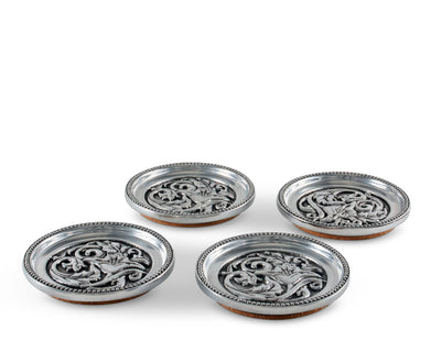 "Arthur Court Aluminum Metal Western Concho Drink Coasters for Home Counters, Kitchen, Dining , Living Room, Patio, Coffee Table, Metal Holder Cork Padding Set of 4 Stackable -  4"" Diameter .5"" Thick"