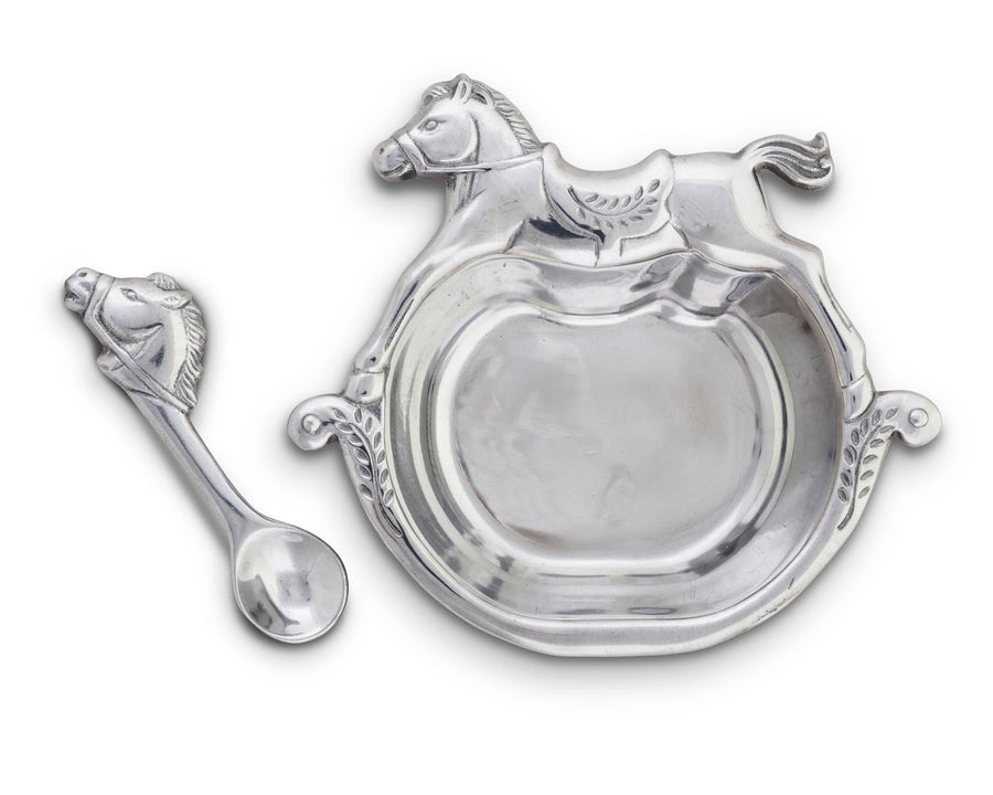 Arthur Court Designs Aluminum Bowl Rocking Horse Keepsake Set