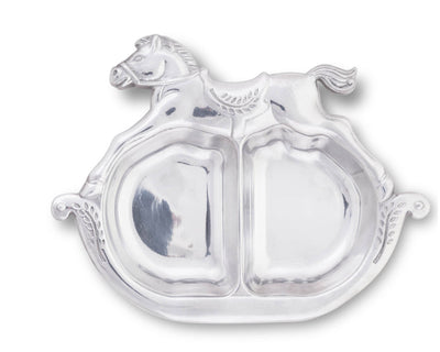 "Arthur Court Designs Aluminum 7"" x 9"" Rocking Horse Divided Plate"