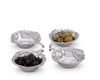 Arthur Court Sand-Cast Aluminum, Set of 4 Olive Pattern Sauce  Bowls