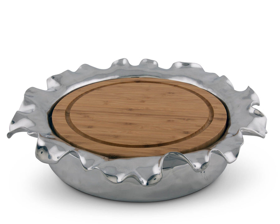 Arthur Court  Cheese / Bar Board Wood Signature Aluminum - Modern Carmel Collection Free Form 10""