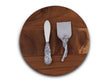 Arthur Court Grape Pattern Wood Board and Cheese Tool Set -Aluminum Handle Cheese Breaker Knife and Spreader and 10 Inch Diameter Round Wood Board
