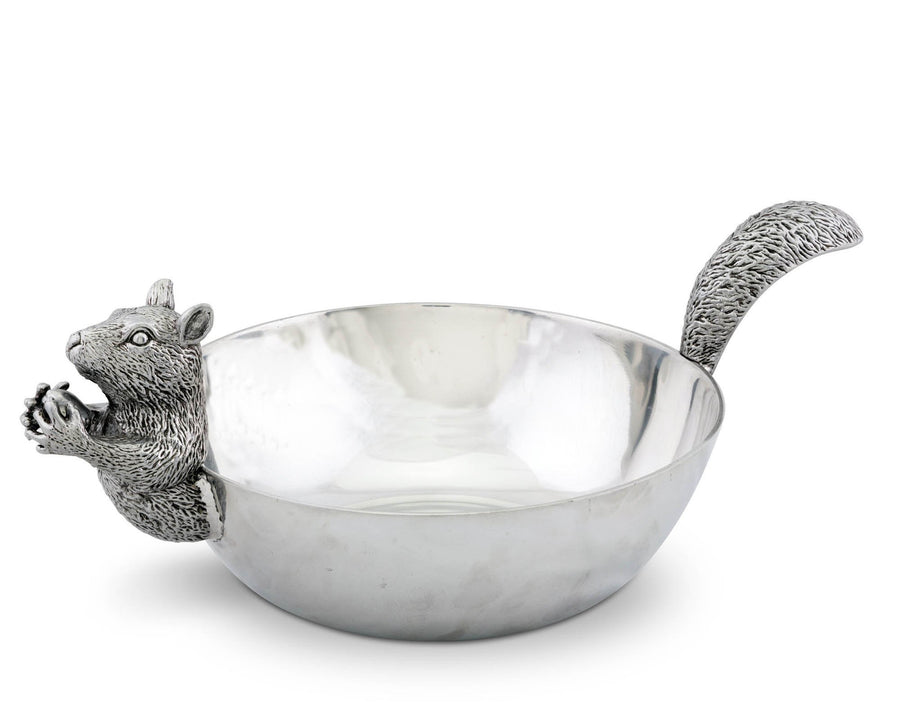 "Arthur Court Designs Aluminum Large Squirrel Head and Tail Nut Bowl 13"" Long"