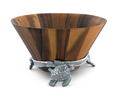 Arthur Court Acacia Wood Salad Serving Bowl with Swimming Sea Turtle Metal Cast Aluminum Stand - Ocean / Coastal Table 2 pieces