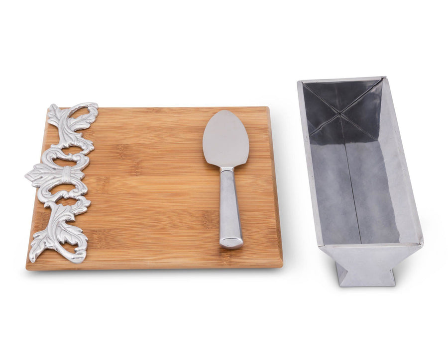 Arthur Court Designs Bamboo Cheese Board with Aluminum Acanthus Accent Cracker Tray and Spreader