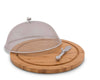 "Arthur Court Bee Pattern Picnic Mesh Cheese Cover with  Bamboo Cheese Board & Spreader Set 13"" Board / 6.5"" Tall Screen"