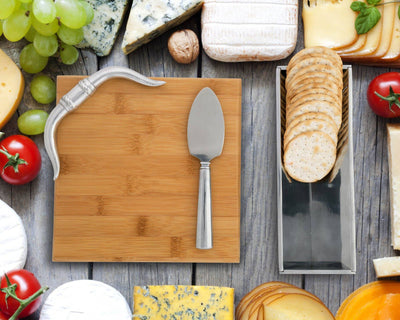 Arthur Court Designs Bamboo Cheese Board with Aluminum Longhorn Accent Cracker Tray and Spreader