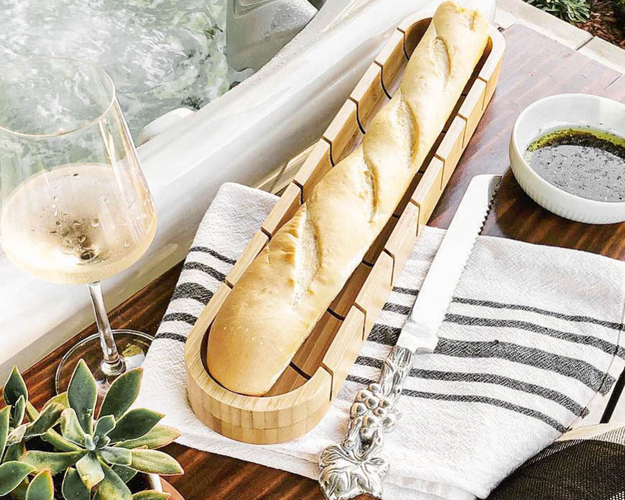 Baguette Board with Grape Bread Knife