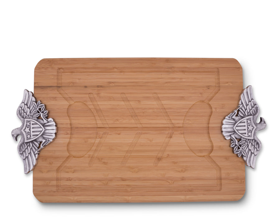 Arthur Court Metal American Eagle Handle Bamboo  Wood Carving / Cheese Board Large Tray for Serving Meats or Appetizer 23.5 Inch