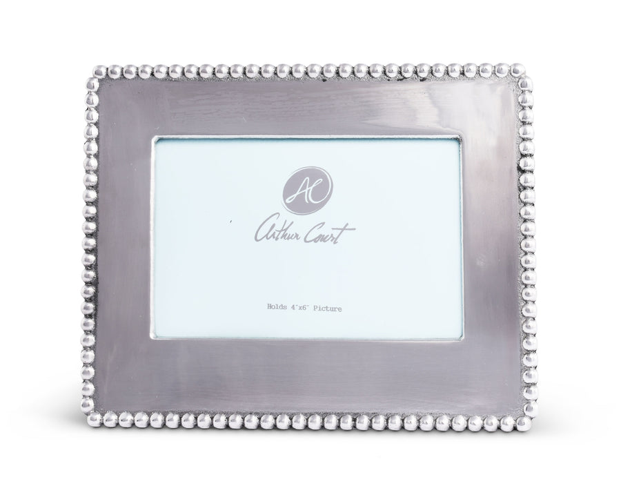 Arthur Court Designs Aluminum Engravable Metal Frame Beaded 4x6