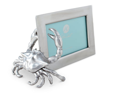 Arthur Court Designs Aluminum 4x6 Crab Picture / Photo Frame Coastal Tabletop or Wall Frame