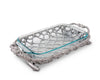 Arthur Court Metal Pyrex Glass Casserole Dish Holder Fish and Net Pattern Sand Casted in Aluminum with Artisan Quality Hand Polished Design Tanish-Free 19 inch long, 3 quart capacity