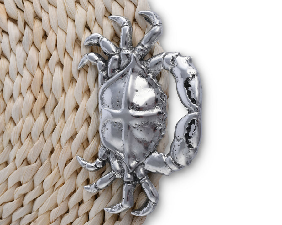 Arthur Court Twisted Seagrass Placemats with Metal Crab Medallion - Set of 4 - 13 Inch Diameter