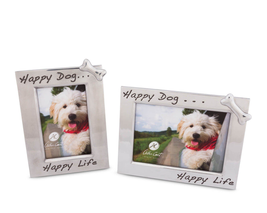 "Arthur Court 'Happy Dog Happy Life' Bone Embellished 4"" x 6"" Photo / Picture Frame"