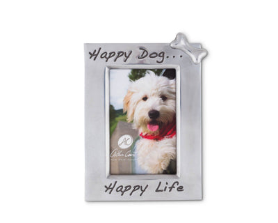 "Arthur Court 'Happy Dog Happy Life' Bone Embellished 4"" x 6"" Photo / Picture Frame - Perfect gift for Dog Lover Desktop or Wall Hang"