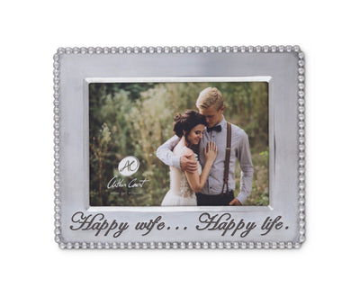 Beaded Polished Aluminum 'Happy Wife Happy Life' Picture Frame by Arthur Court Designs 5 x 7 Perfect wedding gift / Valentine frame