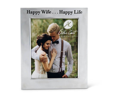 Polished Aluminum 'Happy Wife Happy Life' Picture Frame by Arthur Court Designs 8 x 10 Photo Frame Perfect wedding gift / Valentine frame