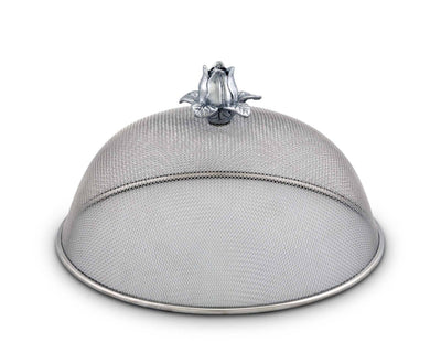 "Arthur Court Stainless Steel Mesh Picnic Food Cover Protectors For Bugs, Parties Picnics, BBQs  / Cast Aluminum  Magnolia Flower Knob 5.5"" Tall  x 10.5"" Diameter"