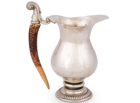 "Vagabond House Pewter Pitcher with Hand-Crafted, Natural-Look Faux Antler Handle 10"" Tall"
