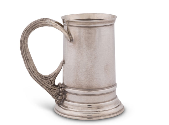 "Vagabond House Solid Pewter English Beer Mug / Tankard with Pewter Antler Handle Artisan Designed Handcrafted for Refined Cabin Lodge Mountain Decor Heirloom Quality 5.25"" Tall"