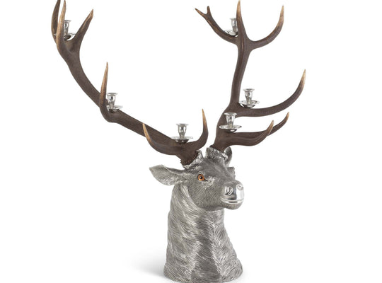 "Vagabond House Pewter Elk Head Candlestick Holder - 6 Light with Real set of Elk Antlers 25"" Long x 36"" Wide x 36"" Tall"