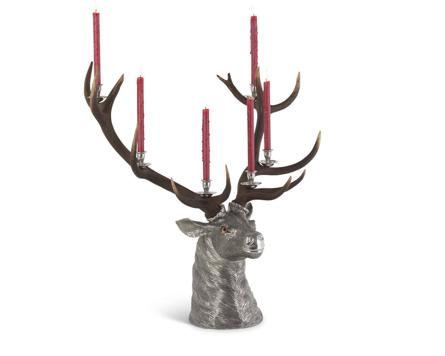 Vagabond House Pewter Elk Head Candlestick Holder - 6 Light with Real set of Elk Antlers 25 inch Long x 36 inch Wide x 36 inch Tall