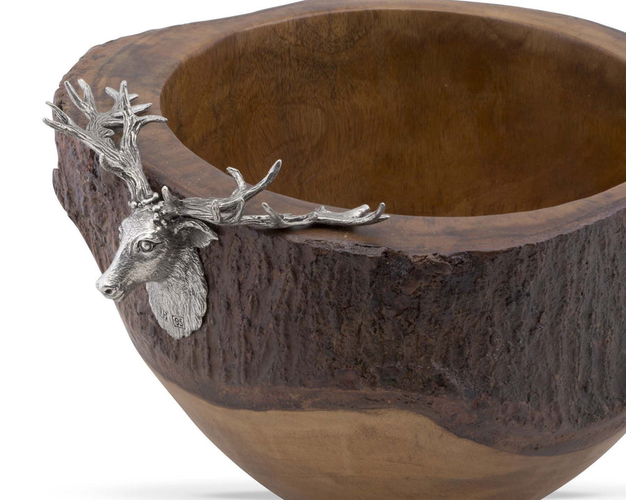 Vagabond House Elk / Deer Head Rustic Wood Salad Bowl with Natural Bark Edge Artisan Designed Handcrafted for Refined Cabin Lodge Mountain Decor Heirloom Quality; 13 inch Wide x 7 inch Tall