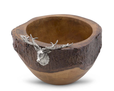 "Vagabond House Elk / Deer Head Rustic Wood Salad Bowl with natural bark edge; 13"" Wide x 7"" Tall"