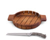 Vagabond House Round Loaf Wood Bread Board with Pewter Antler shaped handle Knife 13 Inches Diameter
